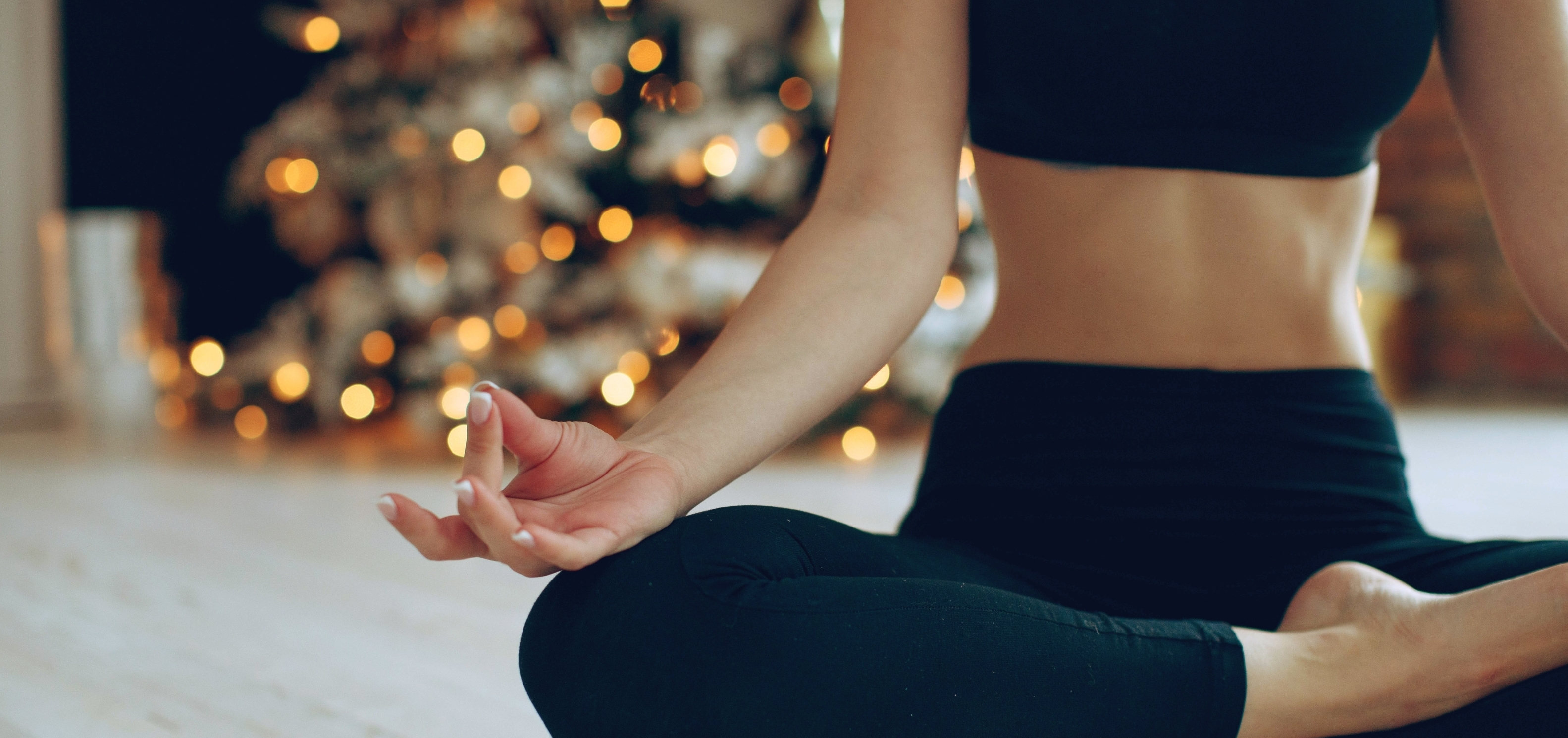 Woman meditating on Christmas